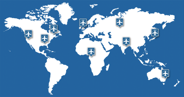Global map images displaying marker icons to indicate where airports using full body scanners are located